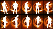Animation of twelve men silhouettes dancing against orange and black background Stock Footage