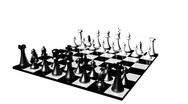 Stock Video Footage of Animation of a chess set turning. Concept of rivalry and competition in business