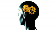 Human head with gears and cogs in motion. Concept of thinking Stock Footage