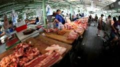 Meat market, China, fisheye Stock Footage