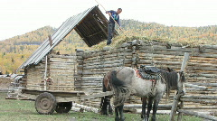 Traditional mud roof making Stock Footage