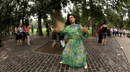 Dancing in the park, Beijing, China Stock Footage