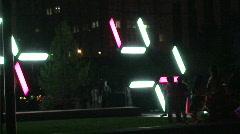 Light Installation and Spectators  Stock Footage