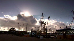 View of a harbor (den oever) with fishing vessels - stock footage