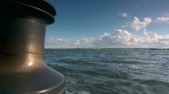 View on sea from sailboat Stock Footage
