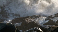Stock Video Footage of crashing waves and rocks