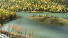Autumn lake with cloud shadow Stock Footage
