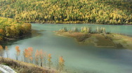 Stock Video Footage of autumn lake with cloud shadow