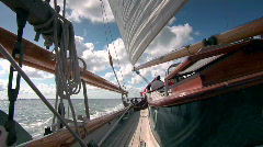 View from a sailboat, sea and sails - stock footage