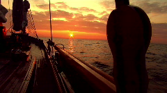 View of sunset from classic sailboat (lemster aak) Stock Footage