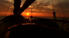 Seaview from sailboat sunset Stock Footage