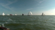 Race of classic sailboats Stock Footage