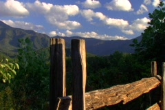 mountain fence push 2 - stock footage