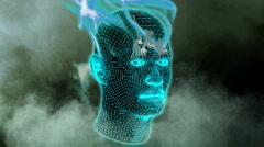 Wireframe head with flames Stock Footage