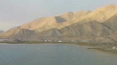 Karakul lake & mountains at sunrise pan Stock Footage