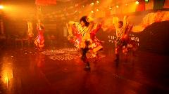 Tibetan-Chinese folk dancing in Moxi, China Stock Footage