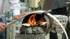 Bread cook  maker heat bend Stock Footage