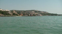 European city by the sea, wider shot Stock Footage