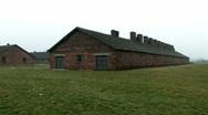 Auschwitz Birkenau barrak wide Stock Footage