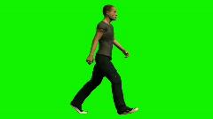 Walking Man on Chroma Key Stock Footage