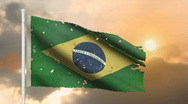 Aged Brazilian Flag Stock Footage