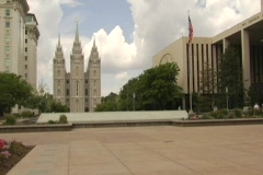 Mormon temple square fountain time lapse Stock Footage