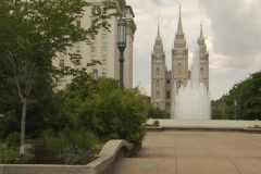 Mormon temple square fountain various shots Stock Footage