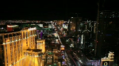 Planet Hollywood and Las Vegas strip at Night Stock Footage