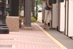 Salt lake city, people leaving tram Stock Footage