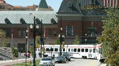 Salt Lake City Trax train arrives close P HD 3469 Stock Footage