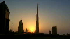 Dubai sundown skyline Burj Khalifa Dubai - stock footage