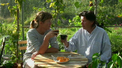 Two mature friends drinking wine Stock Footage