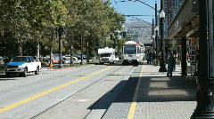 Salt Lake City Trax train arrives P HD 3462 Stock Footage