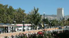 Salt Lake City Trax train fast motion P HD 3460 Stock Footage