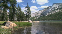 Tenaya Lake - Alpine Mountain Lake in Yosemite National Park Stock Footage