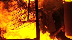 Slow motion burning installation Stock Footage