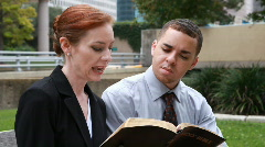 End of the bible study Stock Footage