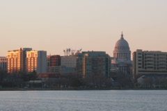 Time Lapse NTSC Sunset Madison Wisconsin Capitol Downtown  Stock Footage