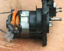 Electric motor catching fire Stock Footage