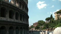 Tourists and traffic by Colosseum Stock Footage