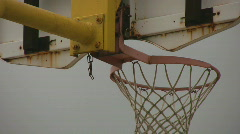 Back of a rusted outdoor basketball net Stock Footage