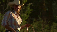 Cowgirl on Horse 15 59.94 - stock footage