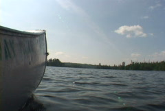 Canoeing on Lake Low Angle Stock Footage