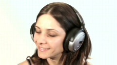 Woman with headphones close-up - HD  Stock Footage