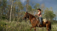 Stock Video Footage of Cowgirls Western Lifestyle Aspens 7 59.94