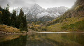 (1119) Autumn Early Snow Storm - Maroon Bells Colorado Mountains and Aspens Footage