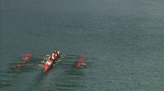 Crew Team Rows on the River - stock footage