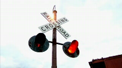 Railroad Crossing Sign Flashing Lights Stock Footage