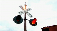 Stock Video Footage of Railroad Crossing Sign Flashing Lights