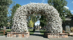 Jackson Hole Elk antler arch P HD 3264 Stock Footage